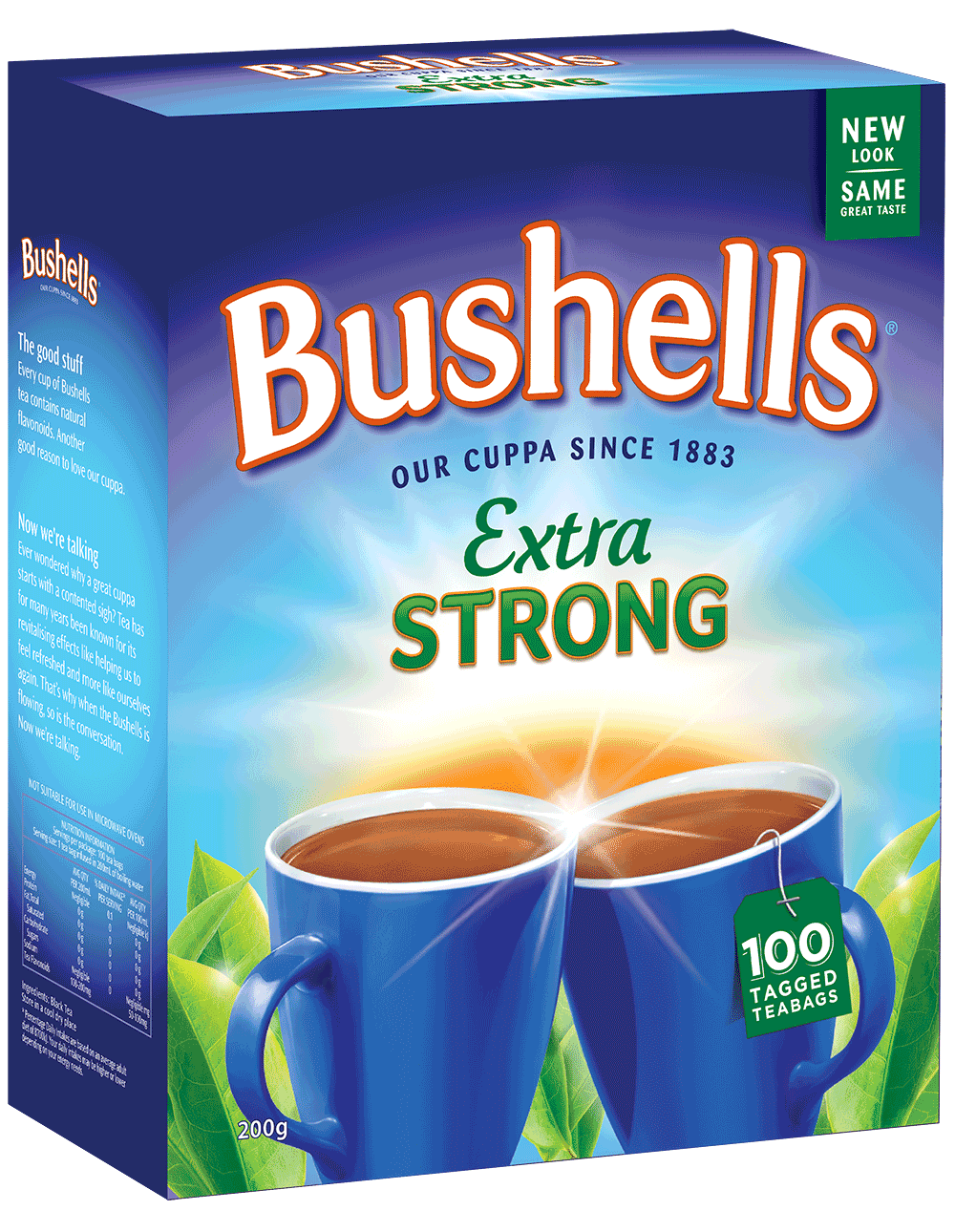 Bushells Extra Strong Tea - 100 tagged teabags of an even richer, warmer, fuller flavoured cuppa - a taste of home, created especially for Australian tastes