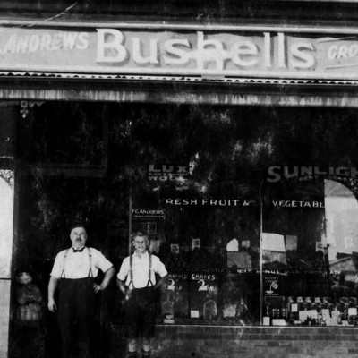 The first Bushells family grocery store