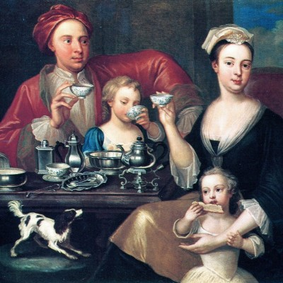 1725 English Family at Tea possibly by Richard Collins, England, d. 1732