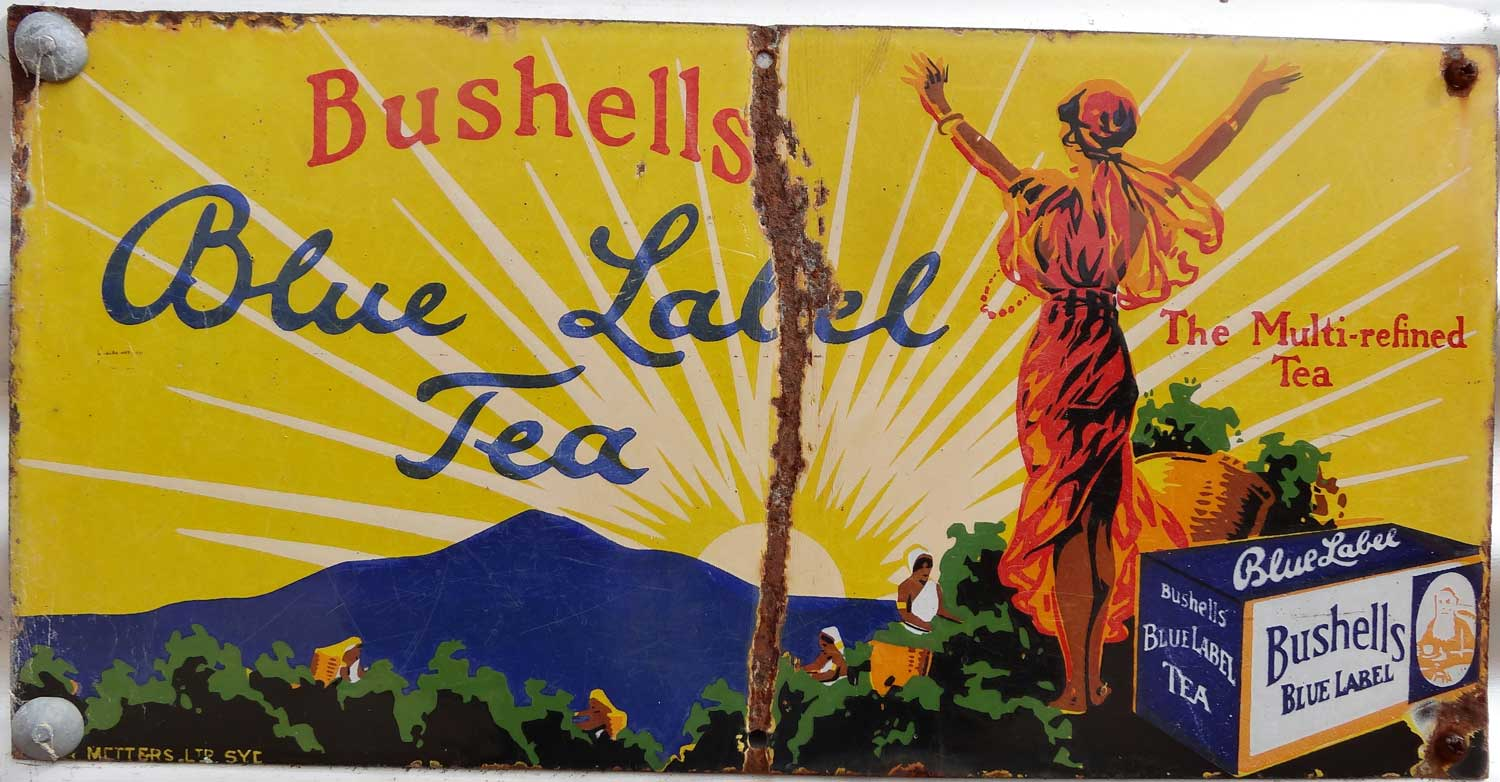 Bushells Blue Label enamel tea sign in Karoondam Pioneer Park. By Denisbin on Flickr